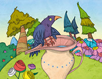 """The Crow and the Pitcher"", Esopo fable for Scholastic"
