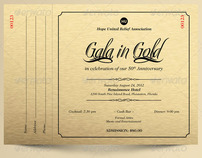 Gala In Gold Anniversary A5 Ticket Template On Behance