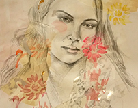Fashion illustration, celebrity portrait of Erin Wassen