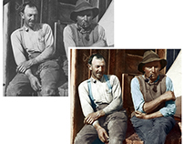 Colorisation of a photograph of two farmers (c 1930)