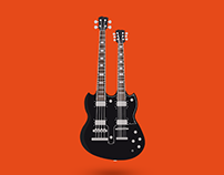 Agile Valkyrie Double Neck Guitar - Illustration