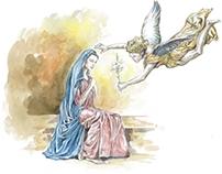 """Ilustração """"e o nome da Virgem era Maria"""""""