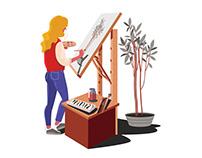 Girl artist Illustration