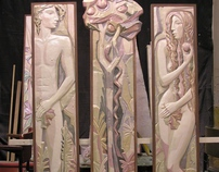 sculpture of Adam and Eve, the series of art panels