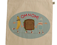 Om Nom Lunch Bag Illustration