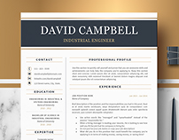 Modern & Professional Resume, CV Template; Design David