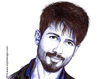 Actor - shahid kapoor - Realistic pen art