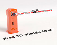 Car Park Barrier Gate Free 3D Model