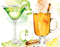 Cocktail Recipe illustrations for Top Sante magazine