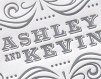Ashley + Kevin Letterpress Wedding Invitations