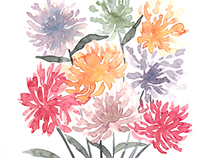 Watercolor Flowers by Lu Haddad