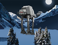 Mountain in Banff Illustration Plus AT-AT's