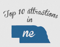 Branding 10 Attractions in Nebraska, United States.
