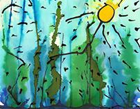 Sol primaveral con cielo azuloso y cipreses al viento.