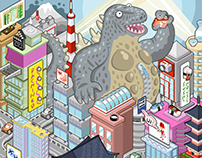 Monster attack in Tokyo! Isometric illustration