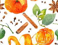 Seamless pattern with orange mandarin fruits.