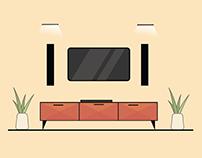 TV setup Illustration design