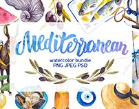 Mediterranean - watercolor bundle