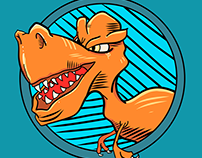 Dinosaur mascot vector illustration. It's for fun