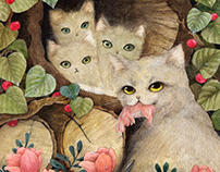 Cats in the wood pile
