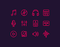 12 Music Icons Sketch App Resource