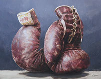 Golden Gloves Oil on Canvas