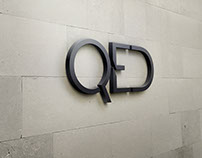 Ultra minimal logo and website design for QED