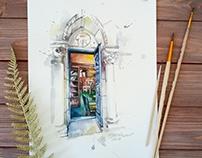 Library / watercolor sketch