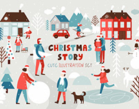 Christmas story - illustration set