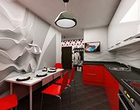 Поп-арт, квартира для любителей красного.