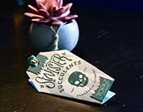 Sinister Succulents - Hang Tag Package Design