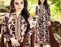 Designer Straight Printed Cotton Pakistani Suits Dress