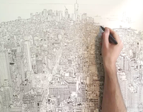 """empire state of pen"" time lapse drawing of Manhattan"