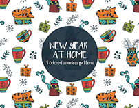 New Year At Home Vector Free Pattern
