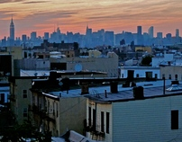 Aesthetic overview of New York City during sunset.