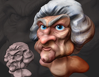 3d sculpt of George Washington caricature