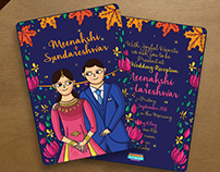 Indian Wedding Reception Invitation Card Illustration