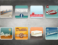 Vintage Style Social Icons