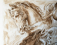 HORSES DRAWING pen and ink ,20 x 30 cm
