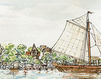 Fantasy city in travelogue style watercolor sketch