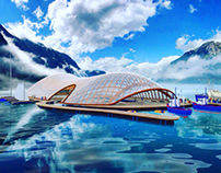 Gridshell protected marine farms