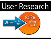 User Research with 80/20 Pareto Principle.