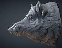 Wild Boar head digital sculpture