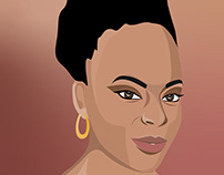 Portrait of a woman created in Illustrator on iPad