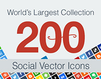 200 Vector Social Media Icons | Ai + 512 PNGs