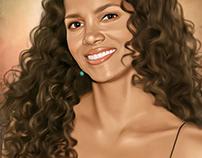 Halle Berry Digital Oil Painting by Wayne Flint