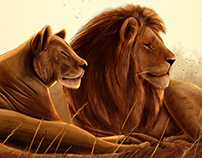 Lions! Digital painting!