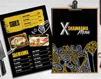 Menu Design for X Shawarma