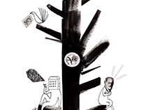 Mr. Freud in a tree - illustration for Kuledibi Mag