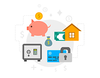 Finance Icons Set In Flat Style